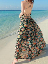 Load image into Gallery viewer, Chiffon Floral Print Backless Boho Beach Maxi Long Dress
