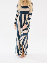 Load image into Gallery viewer, Stripe Long Sleeve Loose Casual Maxi Dress