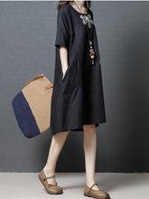 Load image into Gallery viewer, Linen Cotton Short Sleeve Loose Pockets Dress
