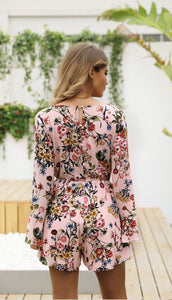 Floral Print V Neck Long Sleeve High Waist Rompers
