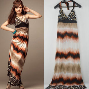 Sexy Print Halter Bohemia Beach Maxi Dress