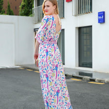 Load image into Gallery viewer, Elegant Printed V Neck Batwing Sleeve High Waist Maxi Long Dress