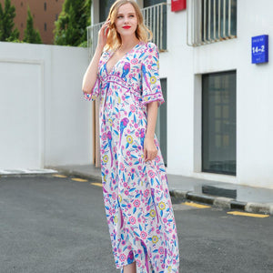 Elegant Printed V Neck Batwing Sleeve High Waist Maxi Long Dress