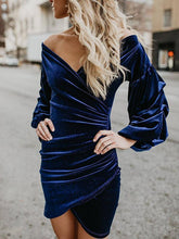 Load image into Gallery viewer, 2018 Solid Color V Neck Long Sleeve Irregular Mini Dress