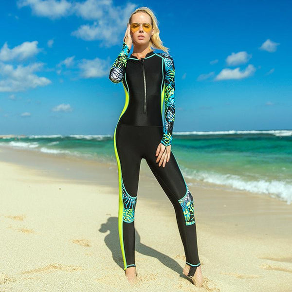 Sunscreen Women's Fast-drying Jumpsuit Long-sleeved Sun Protection Swimsuit Jellyfish Swim Snorkeling Surfwear