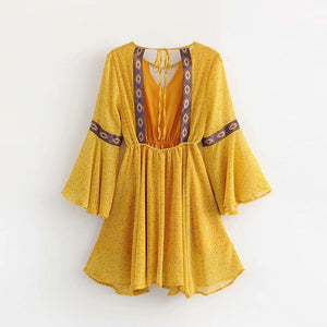Yellow Backless Bohemia Beach Mini Dress