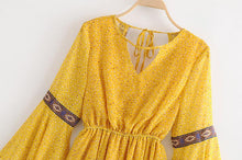 Load image into Gallery viewer, Summer New Yellow Backless Bohemian Beach Mini Dress