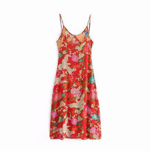 Load image into Gallery viewer, Bohemian Floral V-neck Side Slit Spaghetti Straps Slip Midi Dress