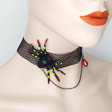 Load image into Gallery viewer, Halloween Black Spider Lace Necklace