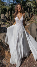 Load image into Gallery viewer, Lace V-neck Flared Backless Two Pieces Maxi Dress