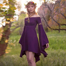 Load image into Gallery viewer, Off Shoulder Long Flared Sleeve Solid Color Mini Dress
