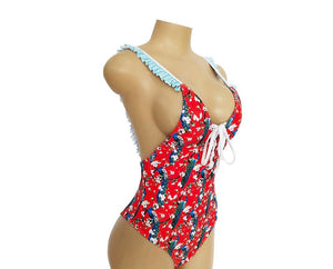 Printed Straps Small Pleated Backless Sexy  Swimsuit