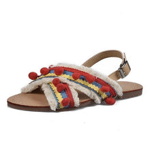 Load image into Gallery viewer, Summer Boho National Style Wave Colorful Pom Sandals