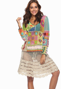 Rainbow Color Sexy Openwork Top Hand-Knit Beach Bikini Cover-Up
