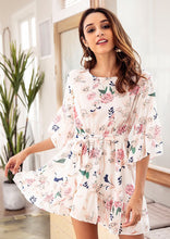 Load image into Gallery viewer, 2018 Chiffon Floral Belted Beach Casual Mini Dress