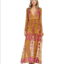 Load image into Gallery viewer, Print V Neck Long Sleeve Lace Splice Boho Maxi Dress