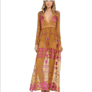 Print V Neck Long Sleeve Lace Splice Boho Maxi Dress