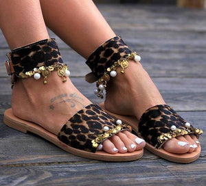 Casual Leopard Open Toe Flat Sandals