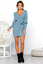 Load image into Gallery viewer, 2018 Knit V Neck Long Sleeve Belted Mini Dress