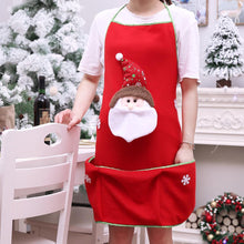 Load image into Gallery viewer, Holiday Santa Snowman Kitchen Cooking Red Christmas Apron