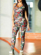 Load image into Gallery viewer, Sports Printed Cross Strappy Jumpsuits