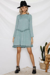Solid Color Long Sleeve Tassel Mini Dress