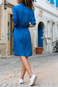 Solid Color Belted Pockets Mini Dress