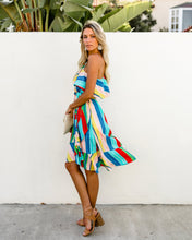 Load image into Gallery viewer, Sloping Shoulder Strapless Lace-Up Irregular Rainbow Striped Dress