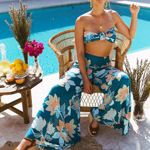 Load image into Gallery viewer, Bohemian Print Tube Top Straps Wide Leg Jumpsuit Suit