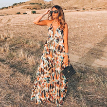 Load image into Gallery viewer, Print Hanging Neck Big Swing Backless Long Dress