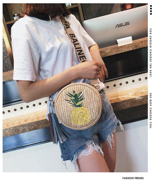 Pineapple embroidery small round bag Korean version simple shoulder slung women straw bag
