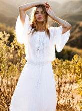 Load image into Gallery viewer, Rayon lace trumpet Long sleeves cozy beach blouse holiday long dress