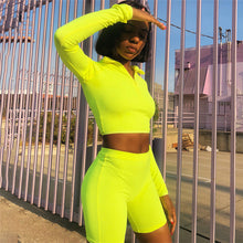 Load image into Gallery viewer, Fashion Fluorescent Color Slim Casual Yoga Sports Suit