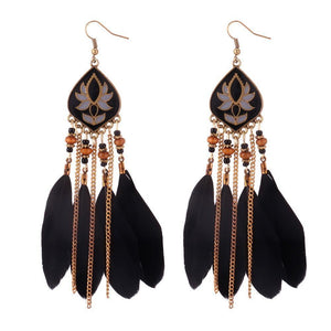 Feather Tassel Bohemian Retro Earrings