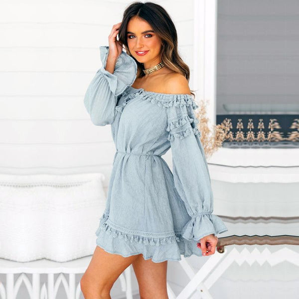 Off Shoulder Long Sleeve Tassel Mini Dress