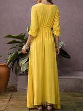 Load image into Gallery viewer, Yellow V Neck Long Sleeve Maxi Dress