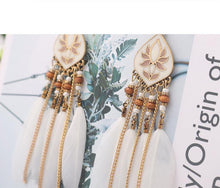 Load image into Gallery viewer, Feather Tassel Bohemian Retro Earrings