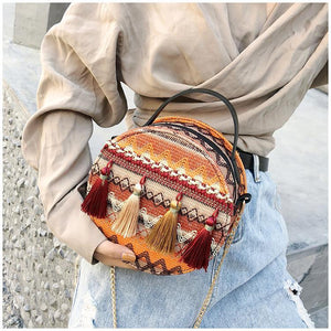 Autumn National Style Contrast Color Tassels One-Shoulder Crossbody Small Round Bag
