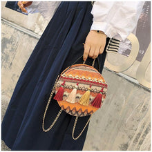 Load image into Gallery viewer, Autumn National Style Contrast Color Tassels One-Shoulder Crossbody Small Round Bag