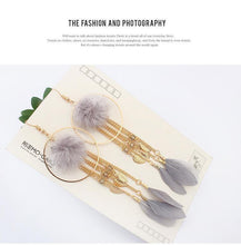 Load image into Gallery viewer, Bohemian Exaggerated Feather Shape Fringe Pierced Earrings
