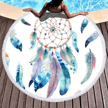 Load image into Gallery viewer, Dream Catcher Feather Round Yoga Mat Print Tassel Beach Towel