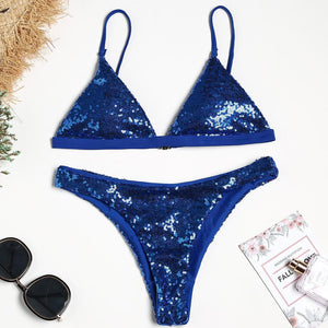 Blue Sequins Bikini Sexy Split Swimsuit