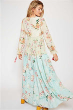 Load image into Gallery viewer, Bohemian V Neck Floral Printed Splicing Maxi Dress