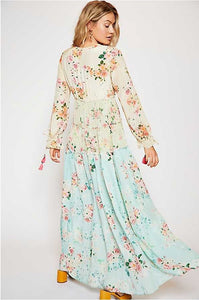 Bohemian V Neck Floral Printed Splicing Maxi Dress