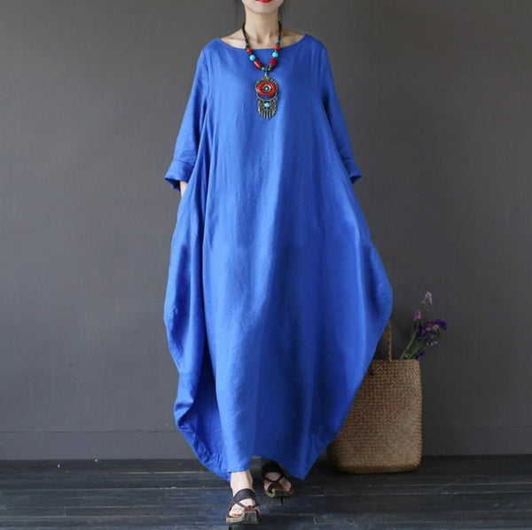 Loose T-neck Middle Sleeve Long Dress for European and American Ladies