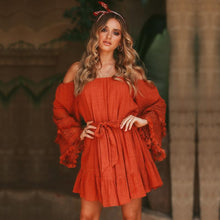 Load image into Gallery viewer, Bohemian Fringed Trumpet Sleeve Belt Off-The-Shoulder Dress
