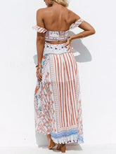 Load image into Gallery viewer, One-shoulder short-sleeved bohemian printed chiffon split beach dress