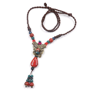 Fashion Ethnic Style Fashion Item Making Old Roses Flowers Wide Sweaters Chains Long Autumn and Winter Clothes Accessories Necklace