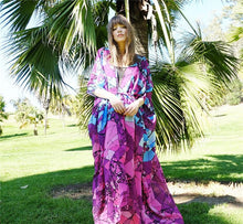 Load image into Gallery viewer, Floral Purple Chiffon Batwing Sleeve Beach Kimono With Belt Dress Cover-up