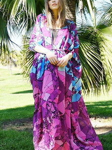 Floral Purple Chiffon Batwing Sleeve Beach Kimono With Belt Dress Cover-up